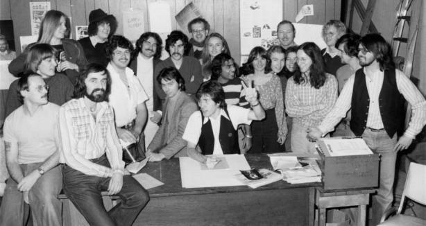 1977. Georgia Straight staff photo — with Rand Holmes, Paul Watson, Terry Glavin, Alan Twigg, Bob Mercer, Joyce Woods, David Lester (arms folded), Dan McLeod, Bob Cummings and Tom Harrison