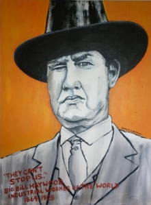 """Big Bill Haywood"" by David Lester (18 x 24"" acrylic on canvas). In September, 2012, The Black Dot Museum of Political Art exhibited at Northern in Olympia, Washington for the second time since 2010, featuring art by members of the rock duo Mecca Normal. Guitar player David Lester exhibited new paintings, and panels from his graphic novel The Listener and illustrations from his weekly Magnet Magazine online column ""The Art of Normal"" with text by Jean Smith, whose new paintings included a series by a character from her recently completed novel by the same name,  The Black Dot Museum of Political Art, bout a narcissist who attempts to prevent an environmentally destructive coal mine from opening off British Columbia's coast."